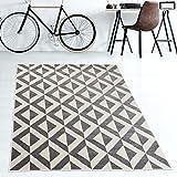 TAPISO Teppiche Geometrische Muster Viereck Karo kurzflor Teppich Meliert Wohnzimmer Schlafzimmer...