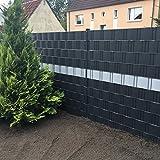 Profi Sichtschutz 50 Meter 1,1 mm PP Kunststoff anthrazit für Gittermatte Zaun Gartenzaun...