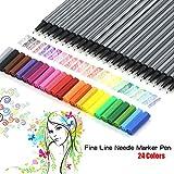 Premium Sketch Fineliner Farbige Marker Stifte (Set von 24) 0,4mm feine Spitze Spitze,...
