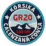 2er-Pack, Stick Abzeichen 55 mm rund / Korsika GR 20 Wanderweg / Applikation Aufnäher Aufbügler...
