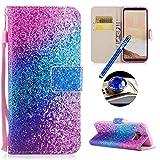 Etsue Kompatibel mit Samsung Galaxy S8 Plus Leder Tasche Klapphülle Bunt Muster Lederhülle Leder...
