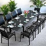 Violet Tisch mit 10 Georgia Stühlen - SCHWARZ | großer ausziehbarer Esstisch 300cm