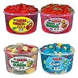 HARIBO Probierset Gelatinfrei 4-er Pack: Kirsch-Cola, Riesen-Erdbeeren, Saure Gurken, Schlümpfe
