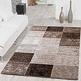 Teppich Günstig Karo Design Modern Wohnzimmerteppich Braun Beige Creme Top Preis, Größe:120x170...