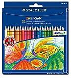 Staedtler Noris Club 144 NC24 Buntstifte, erhöhte Bruchfestigkeit, sechskant, Set mit 24 brillanten...