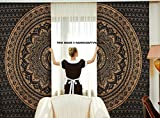 Indische Vorhänge, Ethnisch, Schwarz, Gold, Ombre-Mandala-Decor, Mandala-Wandbehang,...
