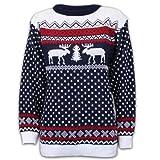 Pullover Damen Herren Weihnachten Strickpullover mit Rentier Retro Sweater MFDEER - Marineblau -...