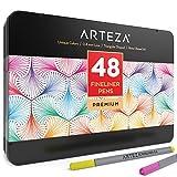 Arteza Fineliner Pens 48-Assorted-Colors (0.4mm Tips, Set of 48)