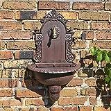 Wandbrunnen von CLGarden WB1 im nostalgischen Design Gartenbrunnen Wasserzapfstelle mit Waschbecken