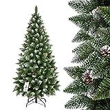 FAIRYTREES Weihnachtsbaum künstlich SLIM, Kiefer Natur-Weiss beschneit, Material PVC, echte...