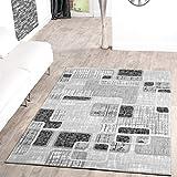 Teppich Günstig Retro Design Modern Wohnzimmerteppich Grau Schwarz Creme Meliert, Größe:200x280...