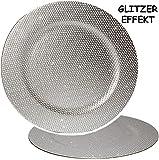 4 Stück _ große Teller - ' Silber - Glitzer & Glanz ' - Ø 33 cm - Unterteller / Platzteller /...