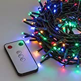 Lichterkette 16,4 m, 200 Mini LEDs bunt, mit Fernbedienung und Zeitschaltuhr, grünes Kabel,...