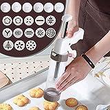 Gebäckspritze für Kuchen und Kekse, Gebäckspritze edelstahl, Einhand-Garnierspritze, mit 13...