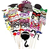 Starcrafter 76 Tlg. Hochzeits Partei Funny Trimm-Styling Mustache Lippen Brille Hüten Krawatte...