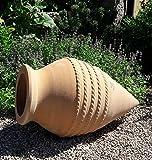 handgefertigte liegende terracotta Amphore, spitz, frostsicher, 60 cm, mediterrane Deko Garten Teich...