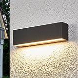 LED Wandleuchte außen 'Elvira' (Modern) in Schwarz aus Aluminium (A+) von Lampenwelt   Wandlampe,...