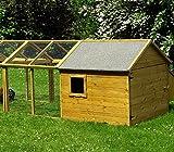 Kleintierhaus 203 x 116 x 103 cm Hühnerstall mit Auslauf, Kiefer, wetterfest