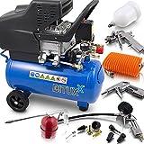 BITUXX® Druckluftkompressor Luftdruck Kompressor 24 Liter + 13 teiliges Druckluft Zubehör-Set...