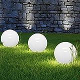 3 x LED Solarkugel Marla mit Erdspieß, Durchmesser 20+25+30 cm Solarleuchte Gartenleuchte...