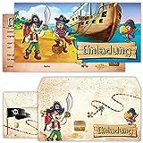 Piraten Einladungskarten mit Umschlägen (12er Set) zum Kindergeburtstag von BeriluDesign |...