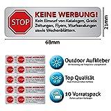 10 Keine Werbung Aufkleber - Schild – Folie - Sticker ( STOP Bitte keine Kostenlose Zeitung,...