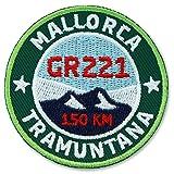 2er-Pack, Stick Abzeichen 55 mm rund / Mallorca GR221 Wanderweg Tramuntana / Applikation Aufnäher...