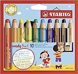 Buntstift, Wasserfarbe & Wachsmalkreide - STABILO woody 3 in 1 - 10er Pack - 10 verschiedene Farben