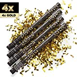 4 x XXL Konfetti-Shooter GOLD 80 cm - Party Popper Konfettikanone Konfettishooter Streamer - für...
