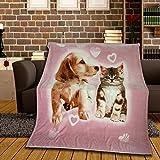 Kuschledecke für Kinder 150x200 cm mit Fotodruck Hund & Katze aus 100% Silk Touch Polyester tolle...