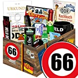 66. Geburtstag Geschenk - MÄNNERBOX mit DDR Waren + Geschenkverpackung 'Verkehrsschild 66' mit...