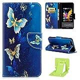Huawei Honor 7X Hülle,PU Lederhülle Tasche für Huawei Honor 7X,Ekakashop Bunt Gold Schmetterling...