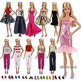 Miunana Fashion 5 Partymoden Urlaubstag Kleidung Kleider Outfit mit 10 Paar Schuhen für Barbie...