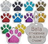 personalisiert graviert Marke Haustier Marken glitzer pfote Design Qualität 27mm Hundemarken -...