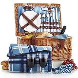 VonShef Luxus 2 Personen Traditioneller Weidenkorb Picknickkorb mit Besteck, Tellern, Gläsern,...