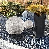 LED Garten Leuchtkugel Gartenleuchte 40cm in Stein Optik Granit matt für Außen IP65 mit OSRAM 10W...