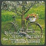 Quadratische Postkarte Glückwunschkarte * Fahrrad mit Blumenkorb
