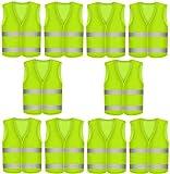 10 Stück Warnweste Pannenweste Warnwesten Set für Auto Neon Gelb | Knitterfrei | Waschbar |360...