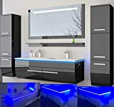 HOMELINE Badmbel Set Doppelwaschbecken Waschbecken Spiegel und Ablage Vormontiert Badezimmermbel LED...