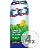 Gardopia Sparpaket: Roundup Rasen-Unkrautfrei Konzentrat Unkrautvernichter, 4 x 500 ml + Zeckenzange...