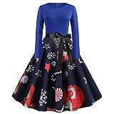 Floweworld Ladies 50s Vintage Party Kleider Weihnachten Santa Claus Bedruckte Kleider mit Gürtel...