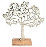 CHICCIE Metall Baum Figur Silber Auf Mango Holz 43cm - Lebensbaum Dekobaum Geldbaum