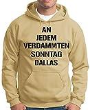 OM3 Dallas - Hoodie - Herren - American Football Team Fan - Kapuzen-Pullover Khaki, 4XL