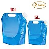 ariel-gxr 2 x Wasserkanister faltbar Tragbar Faltbarer Trinkwasser [5L + 10L] Wasserbehlter...