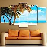 Shentop Leinwanddruck Leinwand Wandkunst 5 Stücke Tropical Paradise Beach Leinwanddruck Malerei...