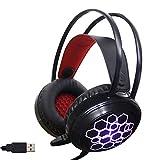 Glhende Gaming Headset, PC mit Mikrofon-Kopfhrer PS4 RGB Beleuchtung Surround Sound USB Wired Gamer...