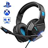 Mpow Gaming Headset fr PS4, EG10 PC Gaming Kopfhrer mit 50MM-Treiber, Super Leicht LED Gaming...