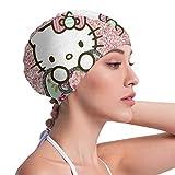 Lbbb1994 Badekappe fr Erwachsene, Silikon, Lange Haare  Bling Hello Kitty Design, bequem und...