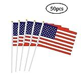 IUwnHceE 50pcs Usa-Stock-Flagge Amerikanische Handmini-Flagge Mit Weißen Fest Polen - Bunt Und Fade...