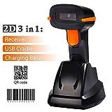 Tera Wireless Barcode Scanner kabellos 2D 1D Funk qr 3 in 1 Ladegerät Laser Handscanner Lesegerät...